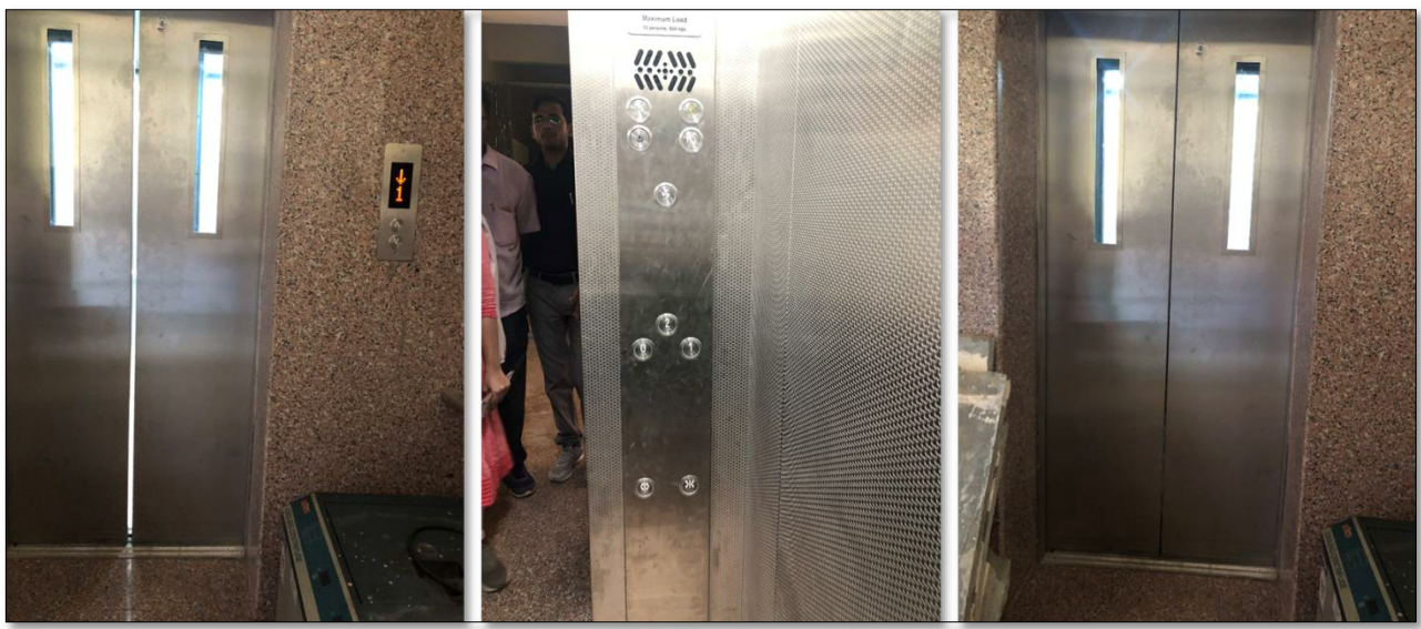 Accessibility in lift using braille buttons and auditory information system, Sawai Man Singh Medical College Hostel, Jaipur, Rajasthan