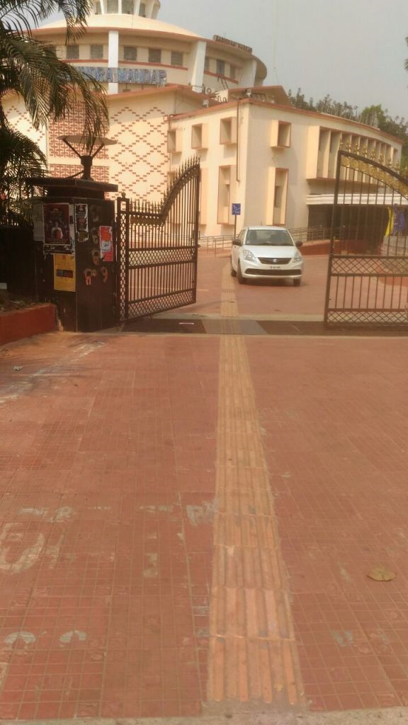 Accessible Route created using non slippery concrete tiles and tactile tiles, Rabindra Mandap,Bhubanshwar