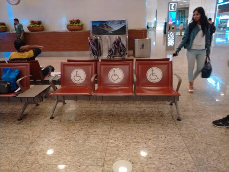 Reserved seats provided for Divyangjans at Airport waiting area